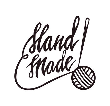 Handmade tailors service monochrome promo emblem with thread ball