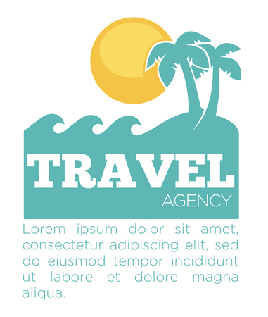 Travel agency promo banner with palms and sea silhouette