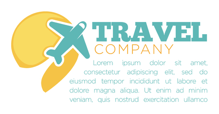 Travel company promotional banner with airplaine and sample text