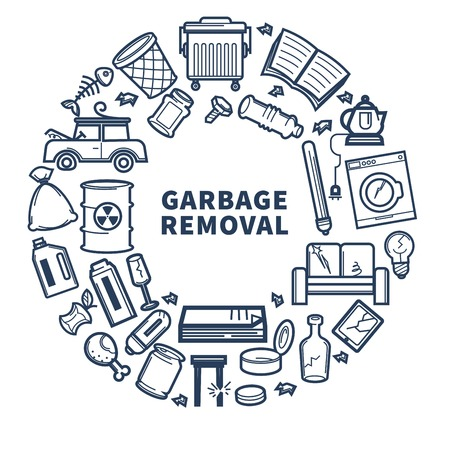 Garbage removal promo monochrome emblem with rubbish in circle Illusztráció
