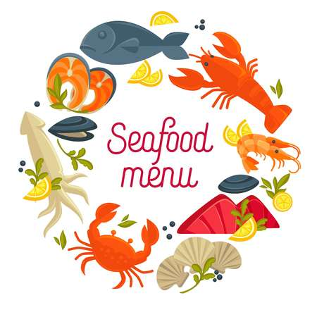 Seafood menu promo emblem with fresh delicious products