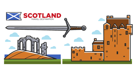 Scotland travel destination promo poster with architecture and ancient sword