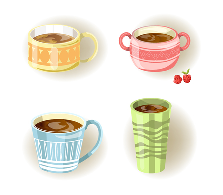 Different vector coffee, tea or soup cups and mugs
