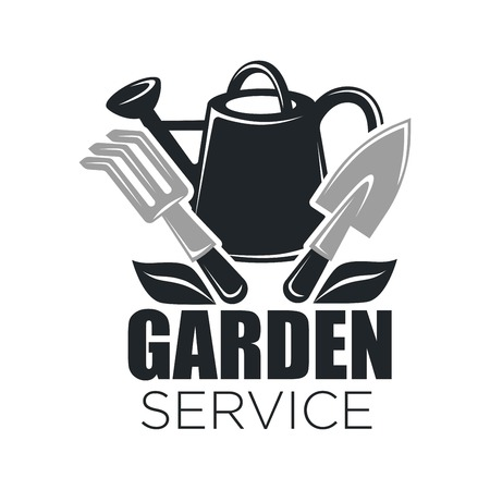 Gardening service vector icon of garden tools
