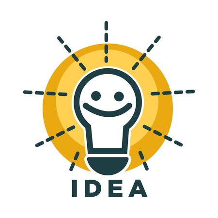 Idea lamp or light bulb with smile face vecor icon