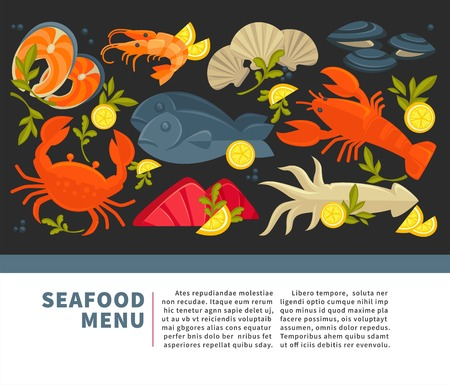 Seafood restaurant menu of fresh vector fish