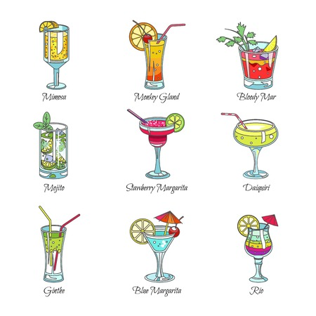Cocktails in glasses exotic drinks vector sketch