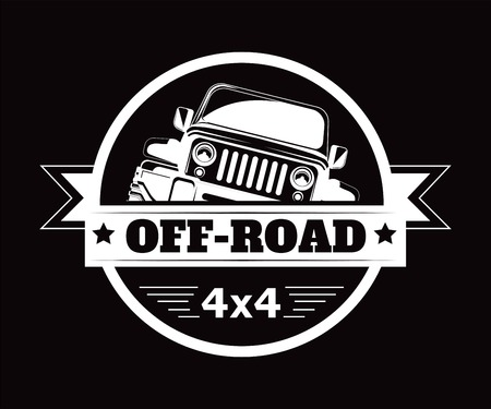 Off-road 4x4 extreme car adventure club vector icon  イラスト・ベクター素材