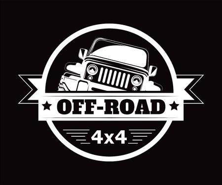 Icona di vettore del club avventura fuoristrada 4x4 auto estrema Vettoriali
