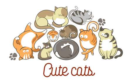 Cat poses cartoon cute kitten pets poster Ilustração