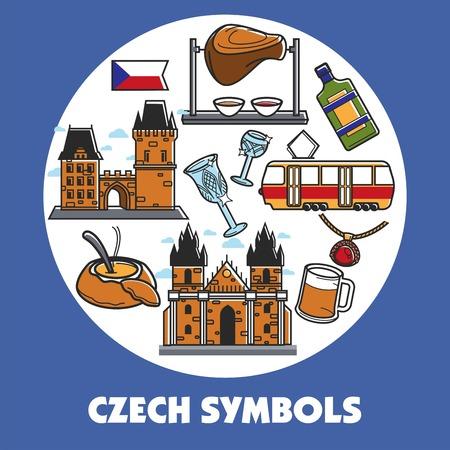 Czech Republic travel symbols and vector landmarks