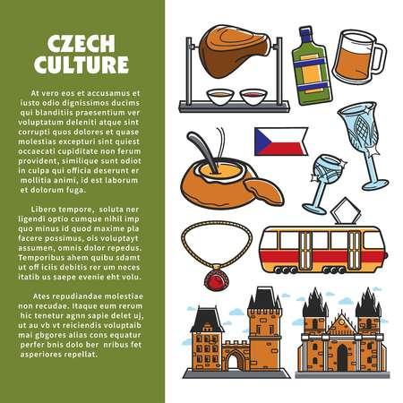 Czech culture symbols and vector Prague landmarks Illustration