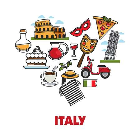 Italy promo poster with national symbols set in heart shape