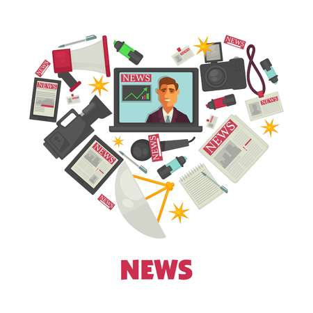 Media news and journalism vector poster Illustration