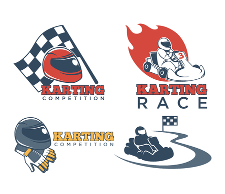 Karting races or kart club competition vector icons Stock Illustratie