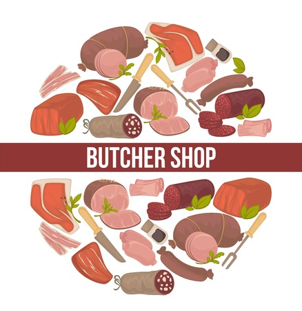 Butcher shop promo poster with meat and sausages