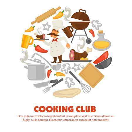 Cooking club promo poster with kitchenware and chef