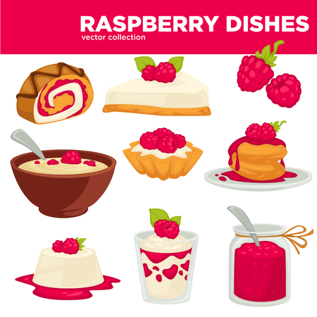 Delicious healthy raspberry dishes and desserts vector collection Illustration