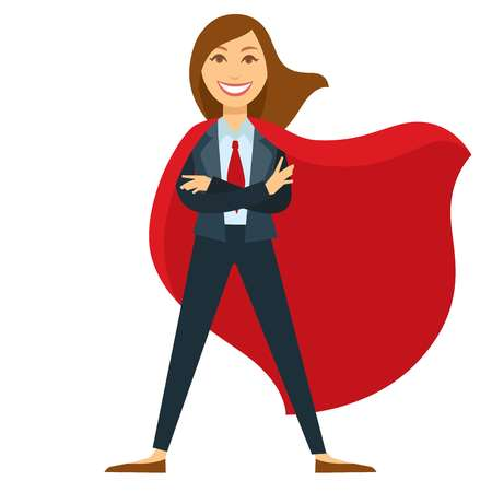 Superwoman in formal office suit with red tie and cloak Illustration