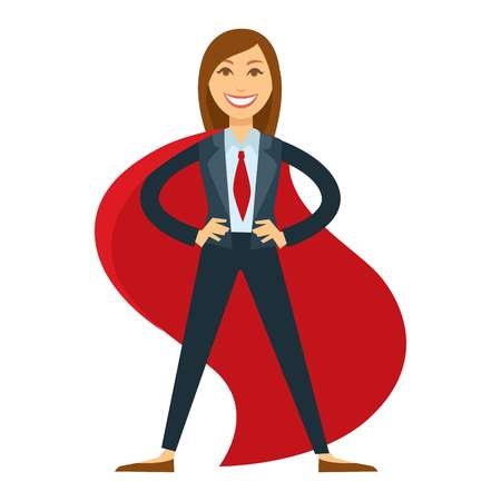 Female superhero in office suit with red tie and cloak Иллюстрация