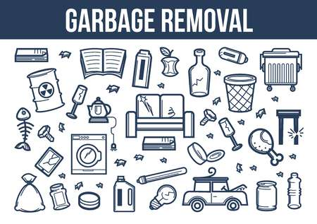 Garbage removal set of ruined appliances and furniture with litter Çizim