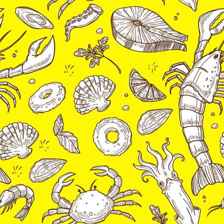 Seafood with greenery and lemon sketches on yellow inside pattern