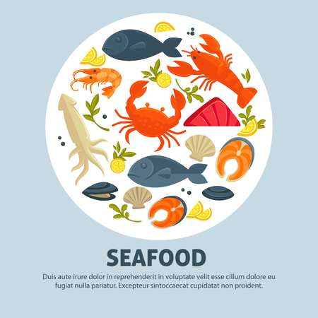 Seafood promo banner with delicious exquisite food set Stock Illustratie