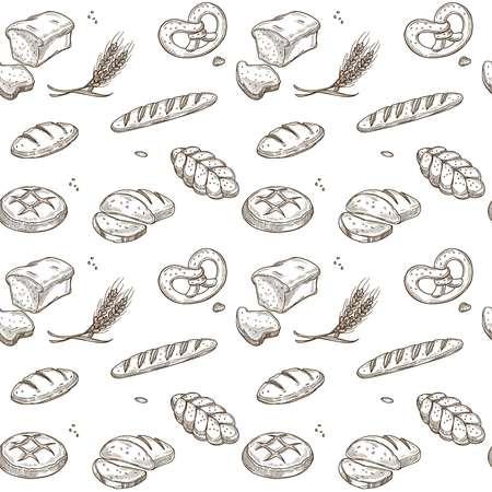 Bakery bread cereals vector sketch pattern Ilustração