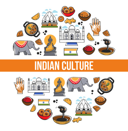 Indian culture promo poster with national symbols set