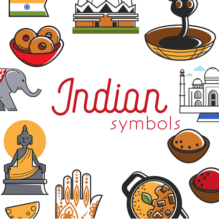 Indian symbols promo banner with famous national attractions