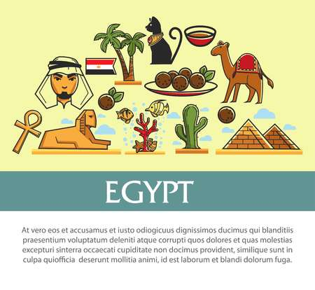 Egypt travel symbols and vector tourism landmarks