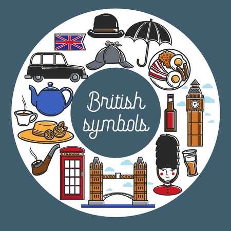 British symbols from cuisine and architecture in circle Stock Illustratie