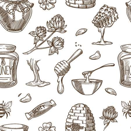 Honey beekeeping vector sketch pattern background Illustration