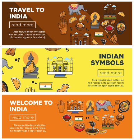 India travel landmarks and symbols vector banners Stock Illustratie