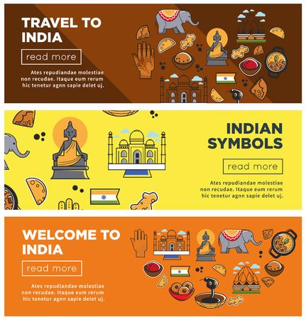 India travel landmarks and symbols vector banners Illustration