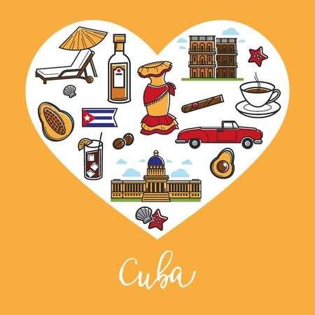 Cuba travel landmark symbols vector heart poster