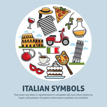Italy travel symbols and landmarks vector poster Illustration