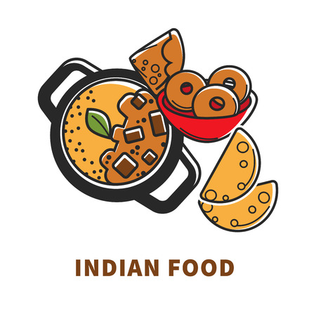Indian cuisine food and traditional vector dishes Stock Vector - 102928863