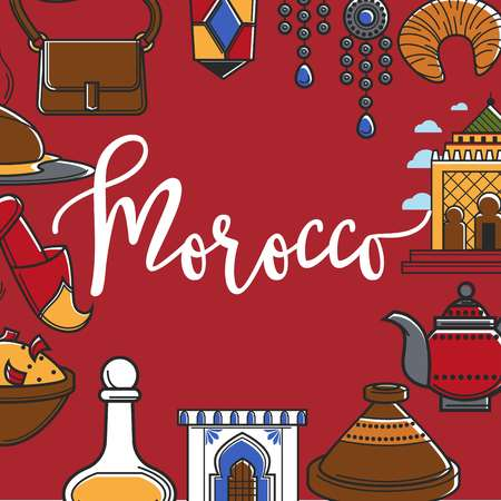 Morocco promo poster with country symbols around sign