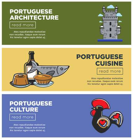 Portuguese architecture and cuisine Internet promo posters set. European country unique culture web banner. Ancient building, delicious food and small statue with ornament vector illustrations.