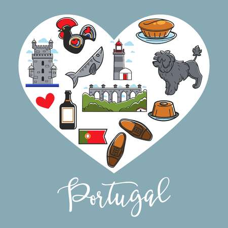 Portugal national symbols in heart poster. Architectural constructions, tall lighthouse, male leather shoes, fluffy dog, spectacular landscape, bottle of port wine and cuisine vector illustrations.