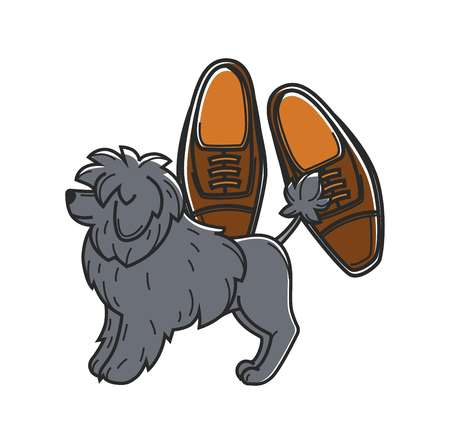 Portugal travel symbols and culture landmarks. Vector icon of Portuguese dog and shoes