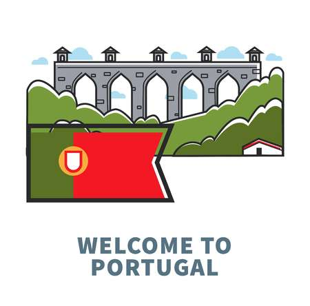 Portugal architecture symbols for travel destination. Vector icon of Portuguese flag and famous building