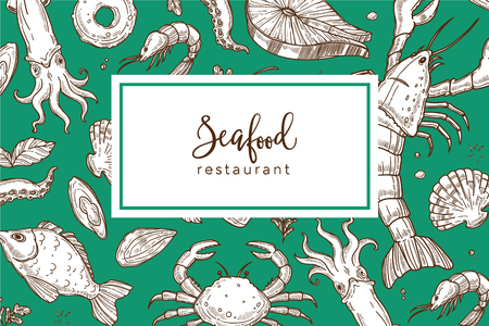Seafood restaurant promo banner or menu cover with seamless pattern. Exotic ink squid, fresh fish, huge lobster, ocean crab and king shrimps sketches in endless texture cartoon vector illustration.