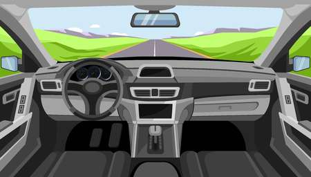 Car salon panel. Vector windshield road view of vehicle interior with modern control panel, gear and speedometer or driver seats