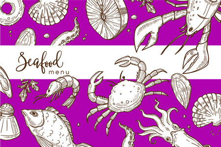 Seafood menu bright purple cover with endless texture. Ocean crab, huge lobster, tender salmon, exotic squid and king shrimp monochrome sketches in seamless pattern cartoon flat vector illustration.