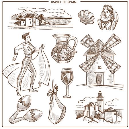 Spain travel symbols and vector sketch landmarks