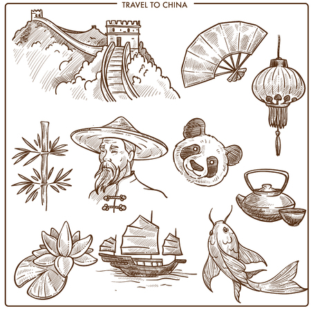 China travel symbols and vector sketch landmarks