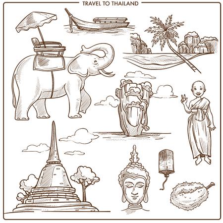Thailand travel symbols or vector sketch landmarks