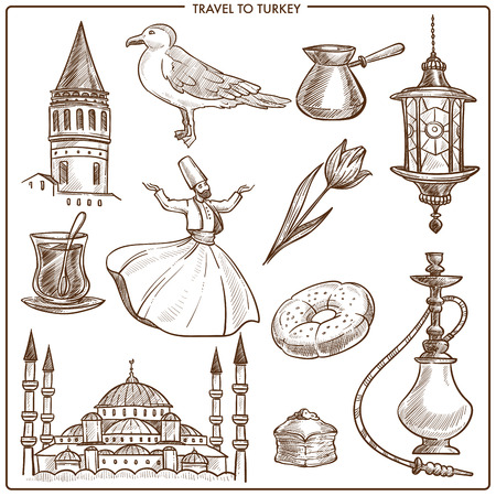 Turkey travel symbols and vector sketch landmarks